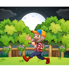 An old lumberjack carrying axe while walking vector