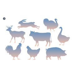 animals silhouette set silhouette of animals on vector image