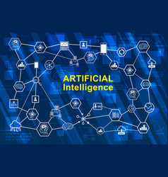 artificial intelligence ai infographic network vector image