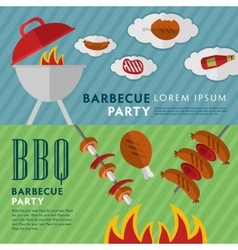 Barbecue grill horizontal banners vector image