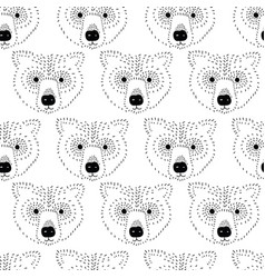 bear head seamless pattern black and white vector image