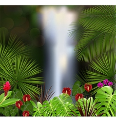 Beautiful on the waterfall background vector