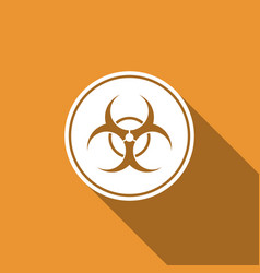 biohazard symbol icon isolated with long shadow vector image