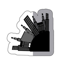 Black city round with builds icon vector