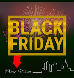 Black friday golden frame on a dark background vector