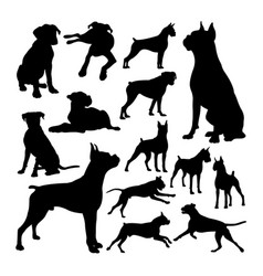 boxer dog animal silhouettes vector image