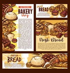Bread sketch posters and bakery banners vector