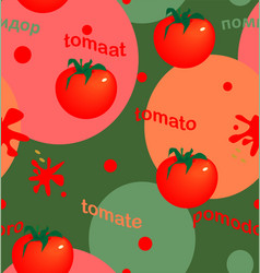 Bright tomatoes on colored circles vector