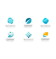 business set abstract colorful logos icons vector image
