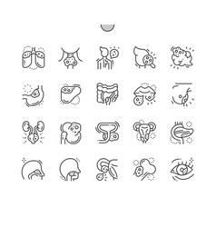 Cancer well-crafted thin line icons vector