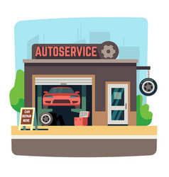 Car repair mechanic shop with automobile inside vector