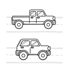 Cars coloring book for kids Pickup 4WD vector
