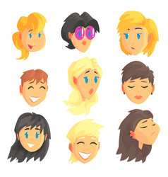 cartoon avatar female faces with different vector image