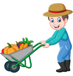 Cartoon young farmer pushing a wheelbarrow full of vector