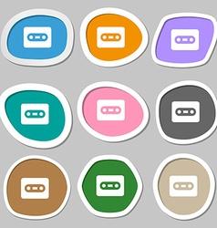 Cassette icon symbols Multicolored paper stickers vector image