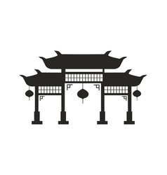 chinese arches with lanterns black silhouette vector image
