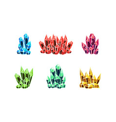 colorful bright crystals set mineral stone rocks vector image