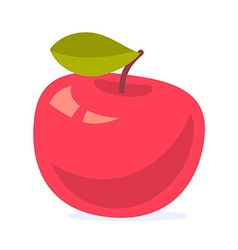 colorful of big red apple with green leaf is vector image