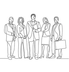 Continuous one line drawing team office workers vector