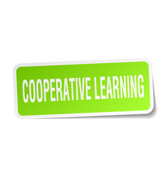 Cooperative learning square sticker on white vector
