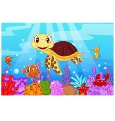 Cute baby turtle cartoon with collection fish vector
