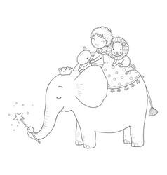 Cute cartoon little boy and big elephant vector