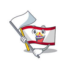 Cute flag french polynesia scroll cartoon vector
