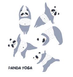 Cute pandas doing yoga clipart perfect for kids vector