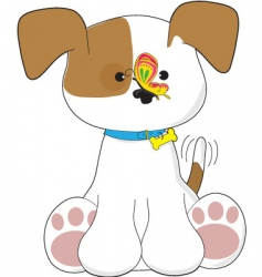 Cute puppy and butterfly vector