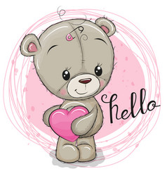 Cute teddy bear girl with heart vector