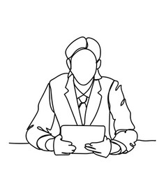 doodle business man sitting at desk read document vector image