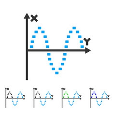 Dotted sinusoid plot flat icon vector
