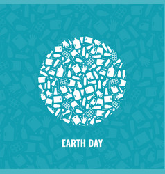 Earth day concept plastic waste planet pollution vector
