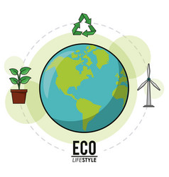 eco lifestyle earth world recycle energy nature vector image
