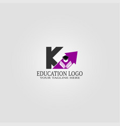 Education logo template with k letter logo vector