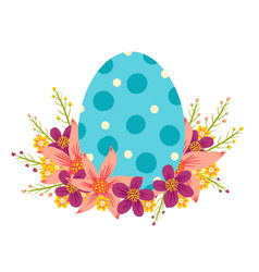 Egg with colorful flowers vector