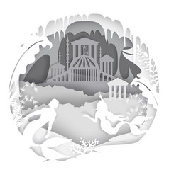 fairytale underwater mermaid palace paper vector image