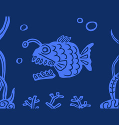fish angler on a blue background vector image