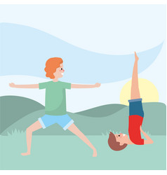 fit couple practicing yoga vector image