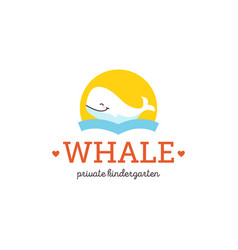 Flat cartoon whale character icon logo doodle vector