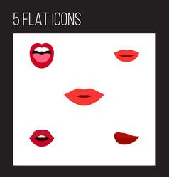 flat icon mouth set of kiss tongue teeth and vector image