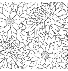 Floral tile pattern flower chrysanthemums line art vector