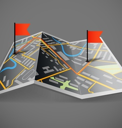 Folded abstract dark city map with flags vector