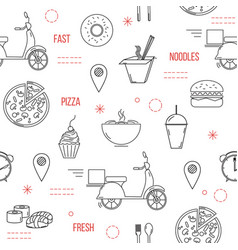 food delivery seamless pattern with thin line vector image