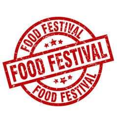 Food festival round red grunge stamp vector