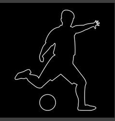 Footballer white path icon vector