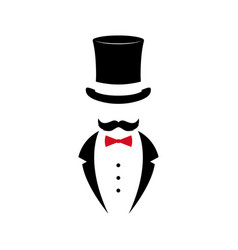 gentleman with mustache in tuxedo vector image