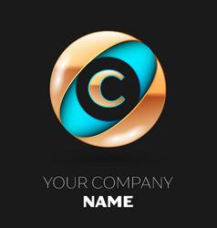 Golden letter c logo symbol in blue-golden circle vector