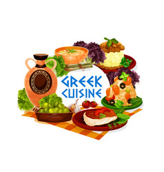 greek olives seafood risotto soup and baked fish vector image