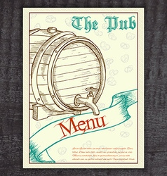 Hand drawn vintage beer menu with ribbon and vector